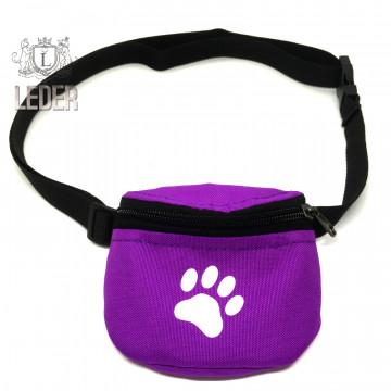 Сумочка для лакомств для собак на ремне Текстиль Сиреневая