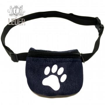 Сумочка для лакомств для собак на ремне Текстиль Джинсовая